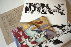 Materials from the interior of Renegade Library Box #13 including an exhibition catalogue with brightly coloured fabric pieces cut in flame or fire shapes. The other items have the same graphic in black and white.