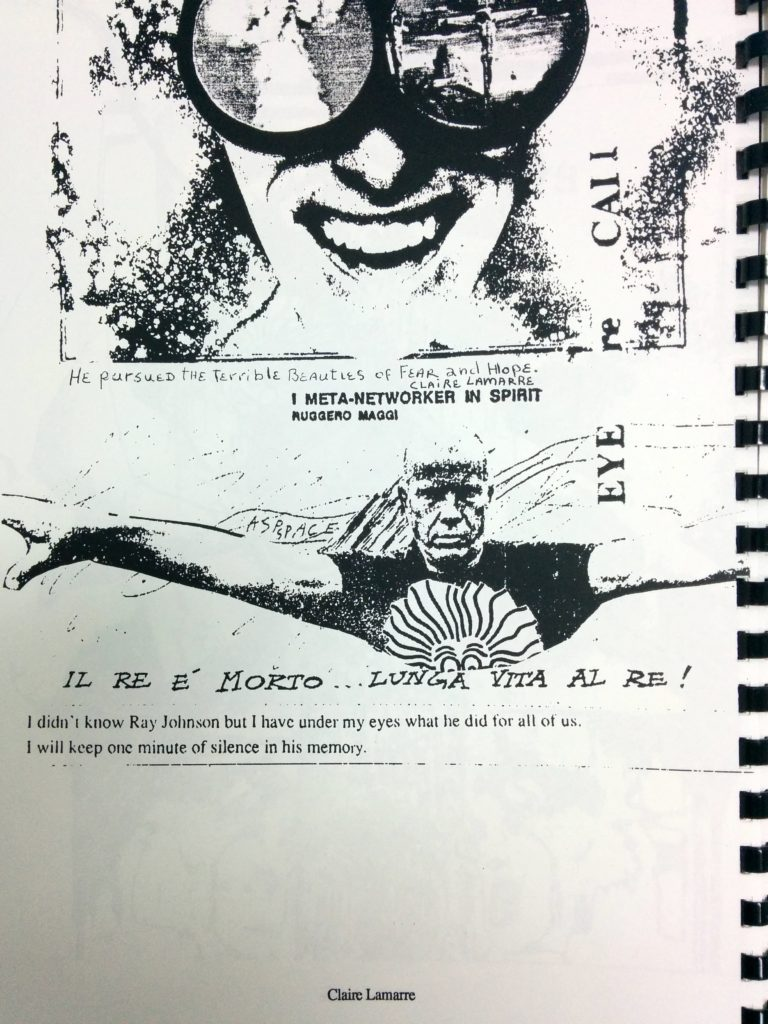 """Fax art featuring collaged black and white images of Ray Johnson with memorial messages including, in hand-writing, """"He pursued the terrible beauties of fear and hope. Claire Lemarre"""""""