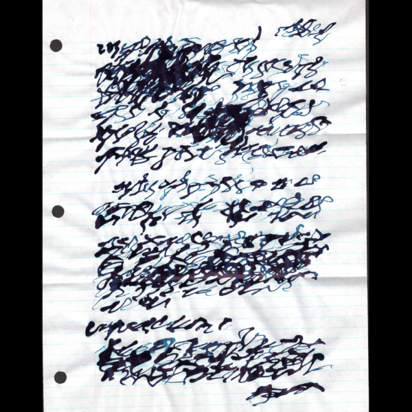 A sheet of writing paper is seen with ink script that is illegible. It has been folded and it is 3-hole hunched on left side.