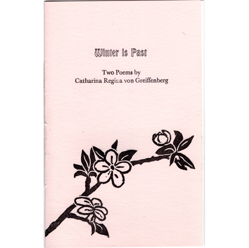 Book cover with letterpress title and author's name. Lino cut print of blossoms on a branch printed over the textures pink paper in black ink.