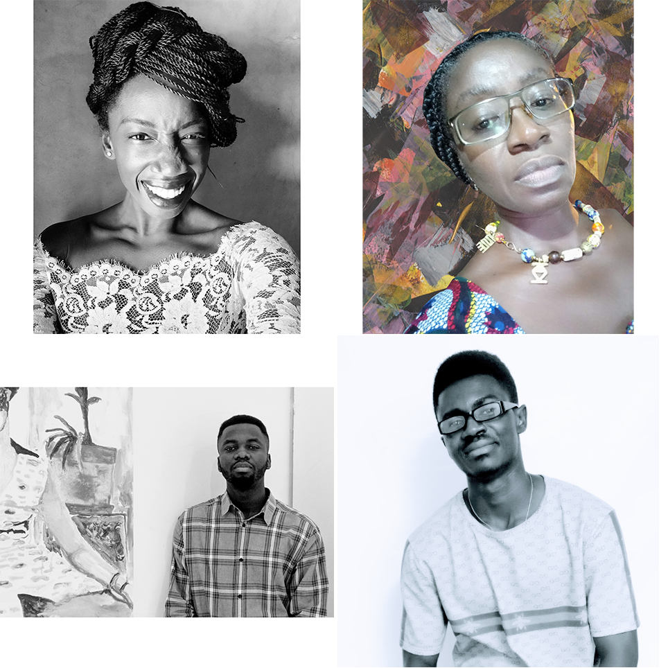Four photographed portraits of writers from Ghana.